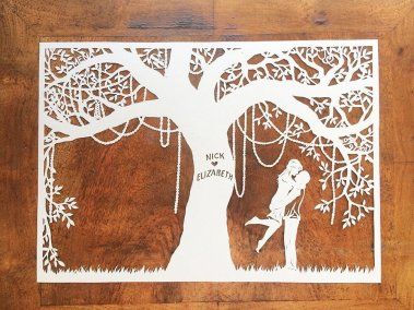 Commission Papercut Elizabeth - Layer one on wood - Whispering Paper