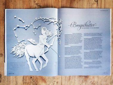 Papercut Illustrations for Libelle Magazine - Magazine - Sagittarius - Whispering Paper