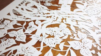 Wedding Anniversary Papercut - Ibiza - Inspiration from the Client - Detail Bougainville - Whispering Paper