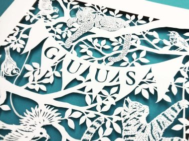 Custom Birth Announcement - Guus - detail middle on bluegreen - Whispering Paper