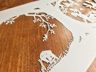Papercut Birth Announcement - Aksel - detail toys - Whispering paper