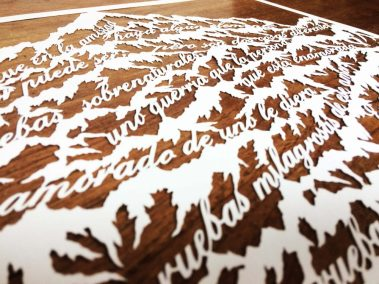 Papercut Anniversary Gift - Mountain Poem - Detail side - Whispering Paper