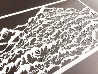 Papercut Anniversary Gift - Mountain Poem - Total on black side - Whispering Paper