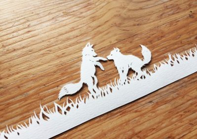 Papercut Birth Announcement Card - Noor - Baby Foxes - Whispering Paper