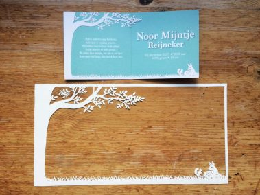 Papercut Birth Announcement Card - Noor - Card with Papercut - Interior - Whispering Paper