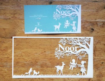 Papercut Birth Announcement Card - Noor - Card with Papercut - Exterior - Whispering Paper