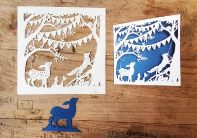 Custom Birth Announcement Cards - Fairytale Forest - Cato - Papercuts with card - Whispering Paper