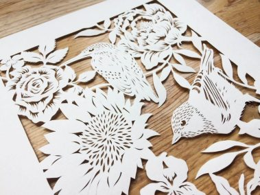 Bespoke Papercut - Flowers and Birds - Side top - Whispering Paper