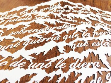 Papercut Anniversary Gift - Mountain Poem - Detail Middle - Whispering Paper