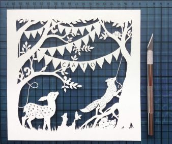 Custom Birth Announcement Cards - Fairytale Forest - Cato - Work in Progress total on mat - Whispering Paper