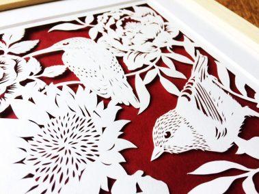 Bespoke Papercut - Flowers and Birds - Framed - Side top - Whispering Paper