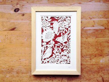 Bespoke Papercut - Flowers and Birds - Framed - Total - Whispering Paper