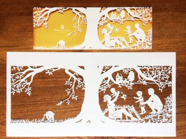 Papercut Birth Announcement - Aksel - Original with Card total - Whispering Paper