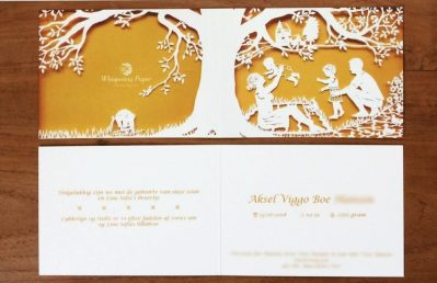 Papercut Birth Announcement - Aksel - Card - Blurred details - Whispering Paper