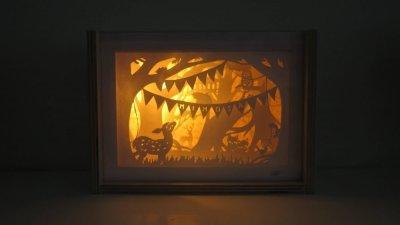 Bespoke Nightlight Dioramas - Mimosa - Front view illuminated - Whispering Paper
