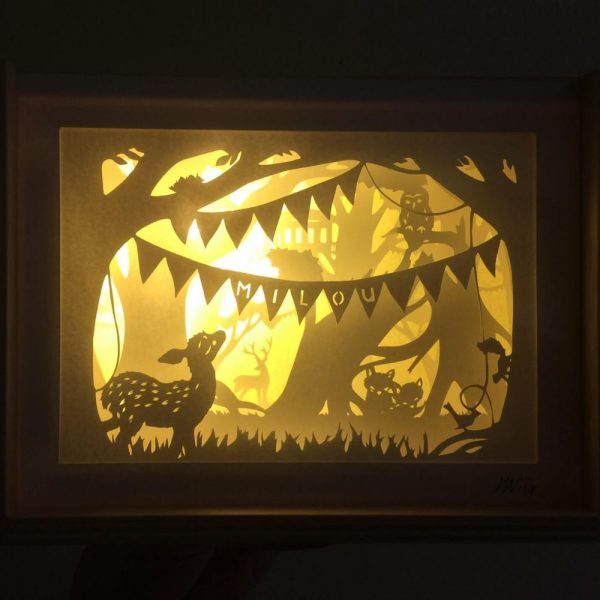 Bespoke Nightlight Dioramas - Milou - Front view - Illuminated - Whispering Paper