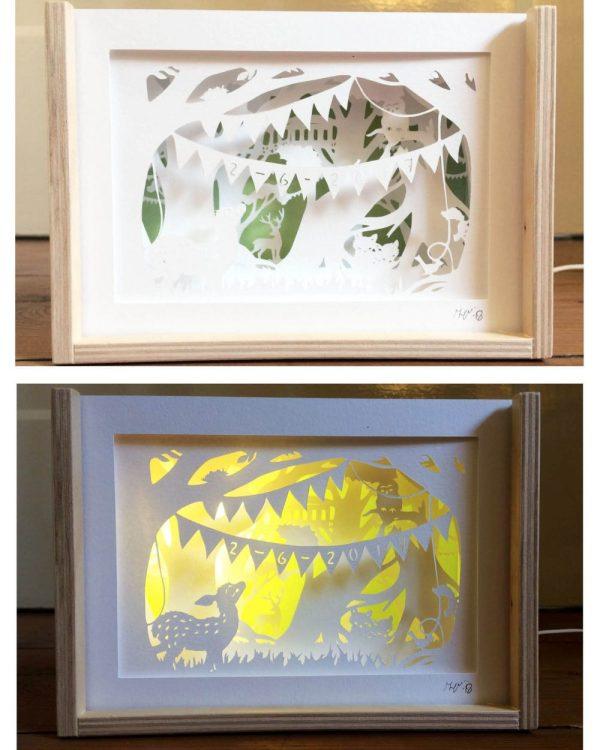 Bespoke Nightlight Dioramas - with Birthdate - Front view - 2: Unlit & Illuminated - Whispering Paper