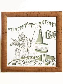 Custom Birth Announcement Cards - Stripes - Framed - Whispering Paper