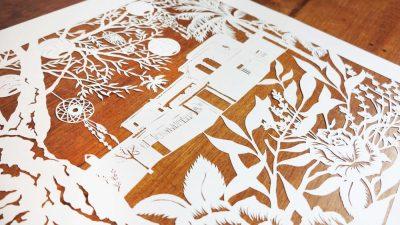 papercut chantal Wedding Anniversary Papercut - Ibiza - Detail from left - Whispering Paper