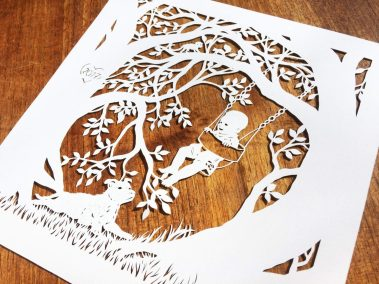 Papercut Gift for a Nanny - Side on wood - Whispering Paper