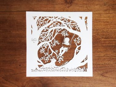 Papercut Gift for a Nanny - Total on wood - Whispering Paper