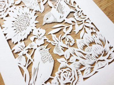 Bespoke Papercut - Flowers and Birds - Side Bottom - Whispering Paper