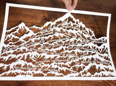 Papercut Anniversary Gift - Mountain Poem - Lifted 2 -Whispering Paper
