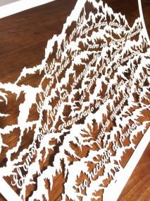 Papercut Anniversary Gift - Mountain Poem - Lifted 3 - Whispering Paper