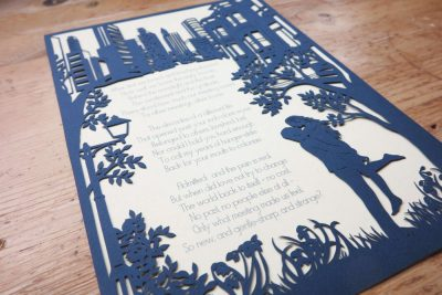 Papercut Birthday Gift - Cityscape poem - Total on wood Side 2 - Whispering Paper