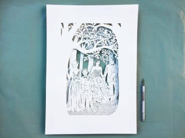Anniversary Family Wedding - Layered Papercut - Total piece with knife - Whispering Paper