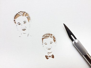Anniversary Family Wedding - Layered Papercut - Work in Progress - Kids Faces - Whispering Paper
