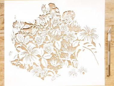 Modulair lasercut - Tropical Flowers - Work in Progress - Whispering Paper