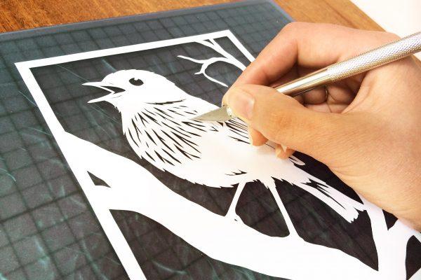 Template Singing Bird - DIY Papercutting - Whispering Paper