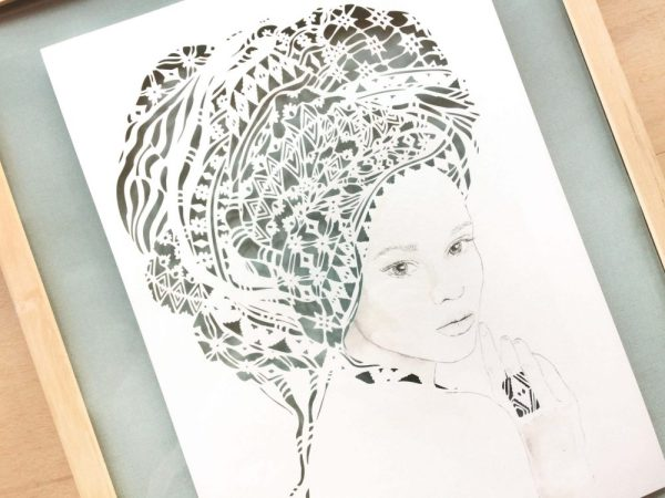Girl with headwrap - Framed - Detail Left