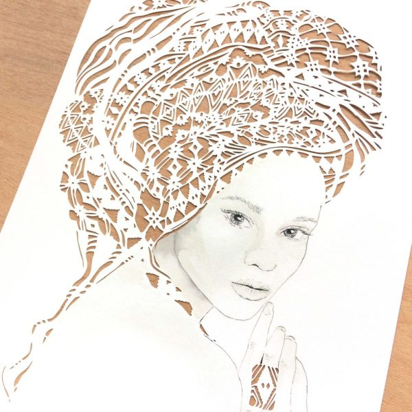 Girl with headwrap - Framed - Detail Left - Square
