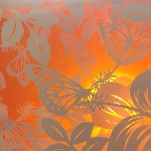Diorama Nightlight - Butterflies & Hibiscus - Detail Yellow with Light