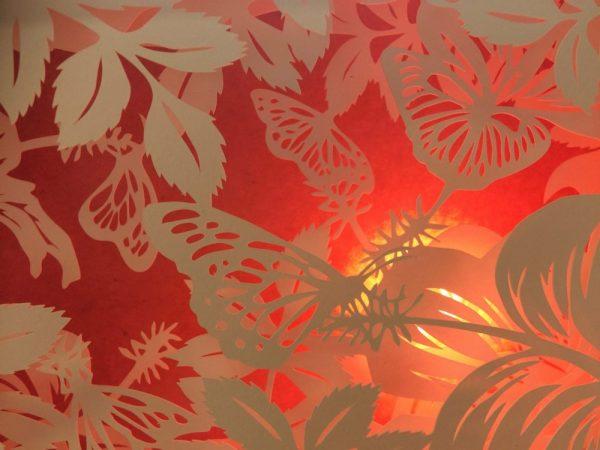 Diorama Nightlight - Butterflies & Hibiscus - Detail Pink Light