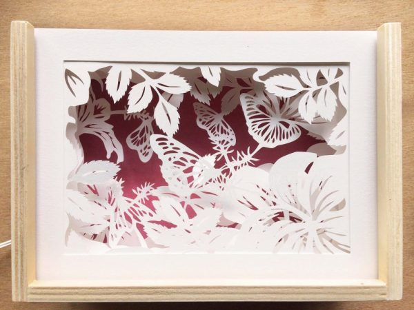 Diorama Nightlight - Butterflies & Hibiscus - Total Pink