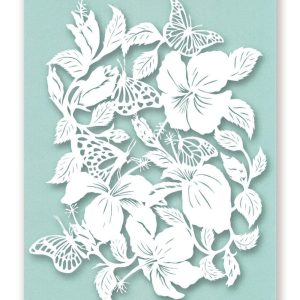 Postcard Butterflies and Hibiscus