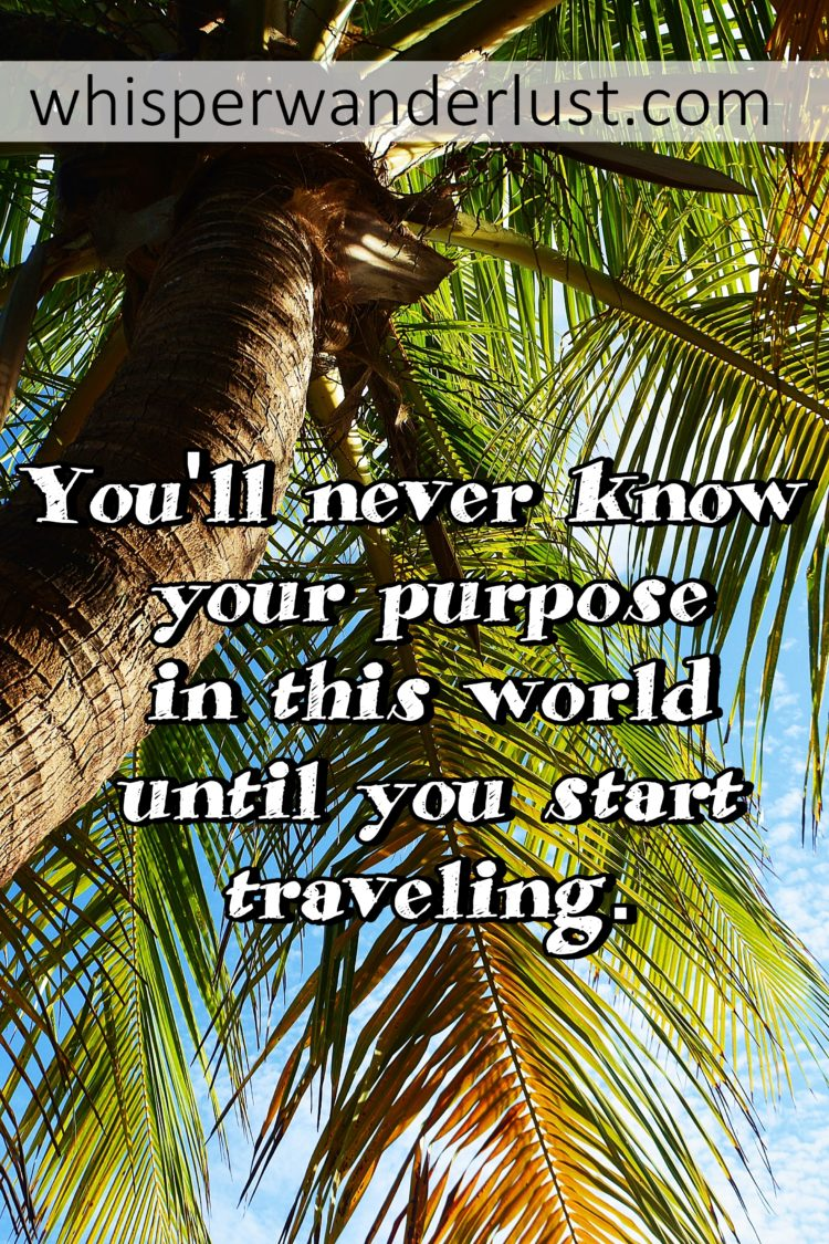 You'll never know your real purpose in this world unless you travel.