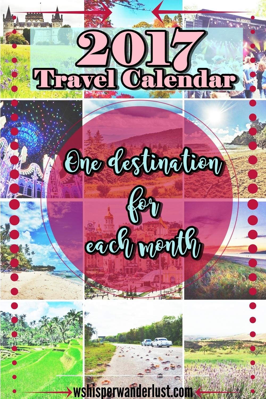 2017 travel calendar one destination for each month
