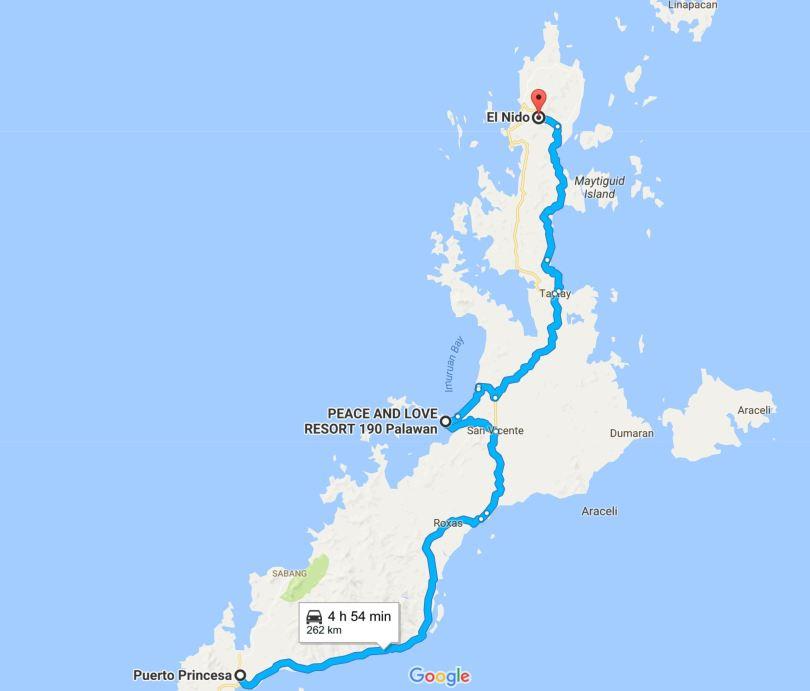 map Puerto Princesa El Nido San Vicente