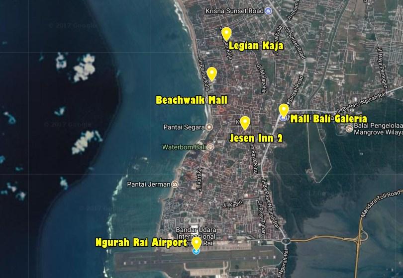 map Jesen Inn 2 Kuta Bali