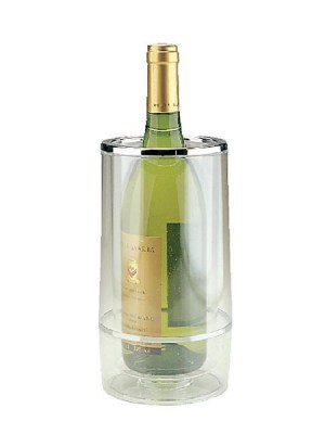 Double walled wine bottle chiller - transparent acrylic with a chrome edge.