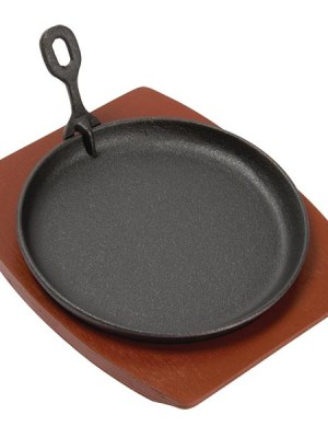 Heavy duty cast iron pans for serving sizzling dishes to the table. Supplied with wooden stands.