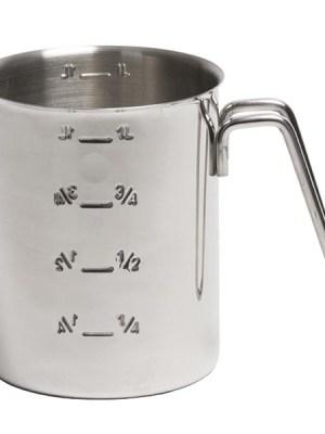 Graduated stainless steel measuring jug.