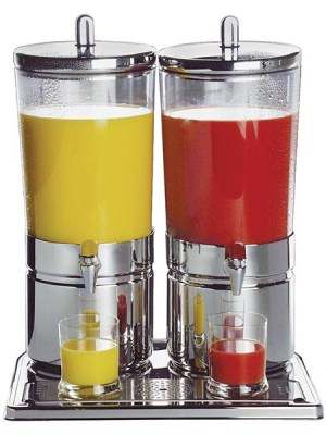 Clear bodied acrylic beverage dispensers with 18/10 stainless steel bases and lids and non-drip taps.