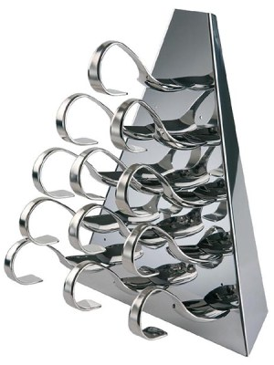 Display canapŽs and hors d'oeuvres stylish and simple with a four sided strainless steel pyramid set or single sided triangular set