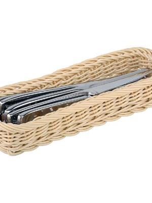 Polypropylene rattan basket cutlery holders.