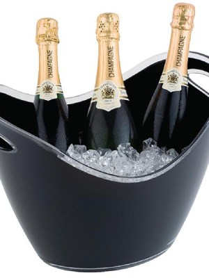 Black acrylic buckets for chilling or displaying wine or champagne bottles. Handles for easy lifting.